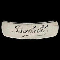 Antique Vintage Estate Isabell Hand Engraved Silver Hair Barrette Bar Clip