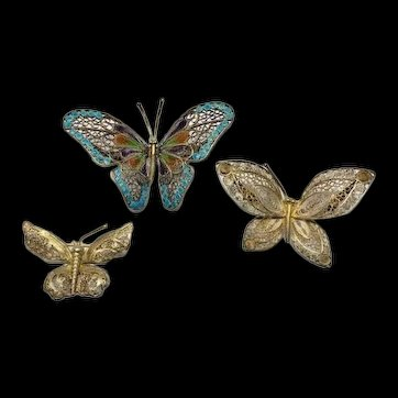 Set of 3 Estate 800 Silver with Gold Gilt & Enamel Filigree Butterfly Brooch Pin