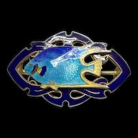 Estate Gold Wash Sterling Silver Guilloche Blue Enamel Bermuda Fish C Clip Brooch Pin