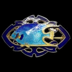 Estate Gold Wash Sterling Silver Guilloche Blue Enamel Bermuda Fish C Clip Brooch Pin