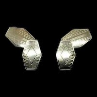 Art Deco Pattern Engravable 6 Sided Hexagon Shape 14k White Gold Men's Cufflinks