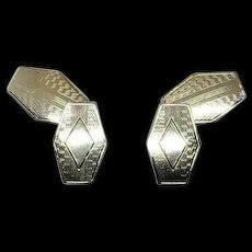 Art Deco Pattern Engravable 6 Sided Hexagon Shape 14k White Gold Men's Cufflinks
