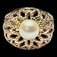 14k Yellow Gold High Dome Twisted Wire Floral Design Cultured Pearl Size 6 Ring