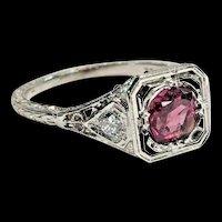 Vintage 18k WG Pink Sapphire/Diamond Filigree CKO Cummins-Kremer Ring Size 6 1/4