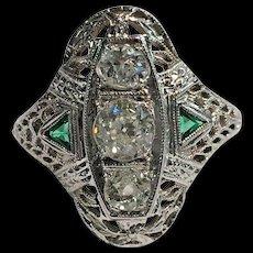 Art Deco 18k WG Diamond & Green Emerald Floral Filigree Ring Size 7.5