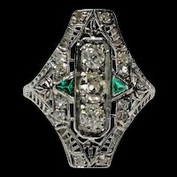 Art Deco Diamond & Green Emerald Filigree Hand Engraved Ring Size 6 1/2