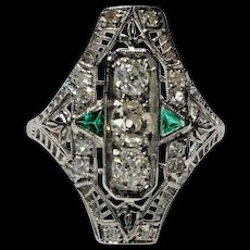 Art Deco Diamond & Green Emerald Filigree Hand Engraved Ring Size 6 1/2