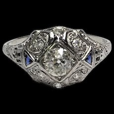 Art Deco Platinum Diamond and Blue Sapphire Dome Filigree Ring Size 10