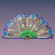 A lovely Asian enameled silver fan brooch