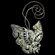 A highly detailed and showy 900 silver Asian butterfly brooch