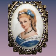 Classic French Limoges portrait pin.