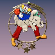 Whimsical enamel sterling clown and elephant brooch