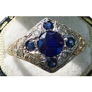 An 18k art Deco white gold genuine sapphire and diamond ring