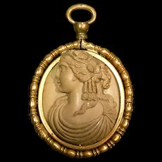 A highly detailed antique lava cameo pendant.
