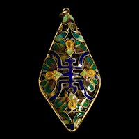 A finely enameled silver Asian pendant.