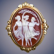 """Classic estate 14k carved shell cameo pin/pendant """"the three graces"""""""
