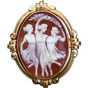 "Classic estate 14k carved shell cameo pin/pendant ""the three graces"""