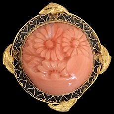 A charming vintage 14k carved salmon coral pin/pendant