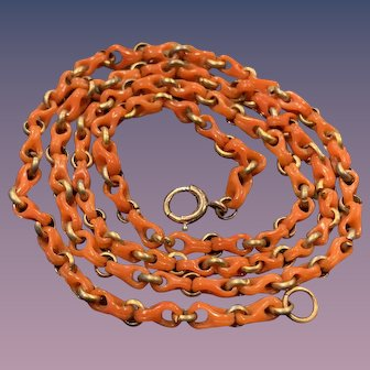 """A fabulous Victorian era natural carved coral chain 18.5"""""""