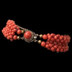 "A vintage ""AMEF"" 835 silver beaded dark salmon coral bracelet"