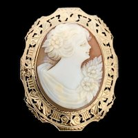 A lovely Art Deco 10k Otsby Barton  carved shell cameo pin/pendant.