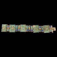 A fabulous vintage Chinese cloisonné enamel coral and turquoise bracelet circa 1930s- 1940s