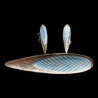A mid century Meka danish 1950s sterling powder blue enamel set.