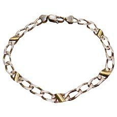 Tiffany & Co Sterling Silver 18k Gold  Cable Link Bracelet