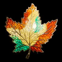 A cheerful vintage enamel maple leaf pin.