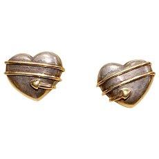 Tiffany & Co. Vintage 18karat Gold & Sterling Silver 925 Heart Arrow Post Omega Back Earrings