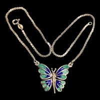 A sweet vintage sterling enamel butterfly necklace