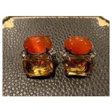 Iradj Moini Topaz and carnelian Clip Earrings