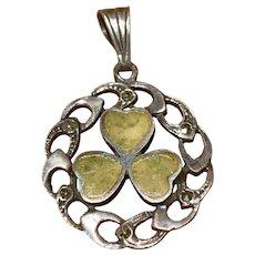 A vintage sterling Irish shamrock marcasite pendant.
