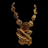 A fabulous bold runway Signed E. Pearl Vintage Gold Plate free form necklace 213Grams!
