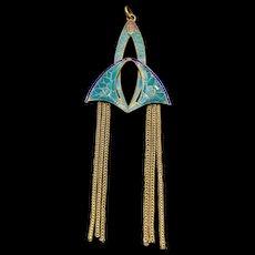 A lovely authentic french Art Nouveau enamel tassel pendant.
