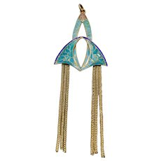 A lovely authentic french Art Nouveau enamel tassel pendant.