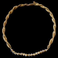 A chic vintage Miriam Haskell twisted Gilt brass choker.