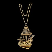 A flamboyant 1960-70s  goldtone sailing ship necklace