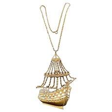 A flamboyant 1960-70s  goldtone sailing ship necklace