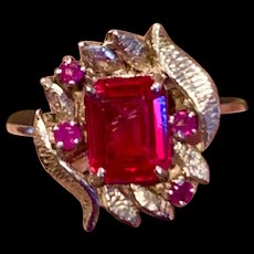 An artist made sterling created retro ruby ring