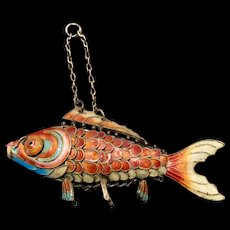 A whimsical vintage Cloisonné enamel articulated silver fish.