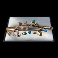 A Fabulous Art Nouveau Russian 14k Garnet,diamond,turquoise bangle.