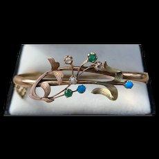 A Fabulous Art Nouveau Russian 14k Garnet,diamond,turquoise bangle.
