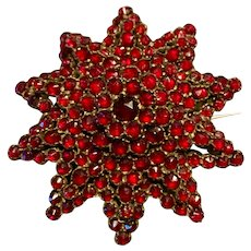 A classic antique bohemian garnet starburst pin.