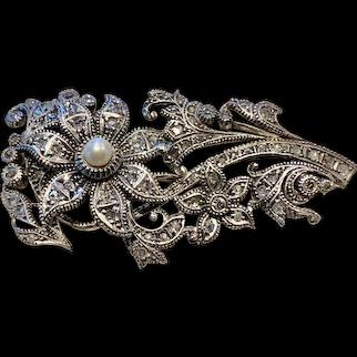 A fine silver antique rose cut diamond pin.