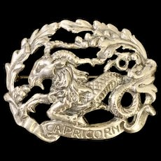 "This vintage Parenti sisters ""Capricorn"" sterling pin."