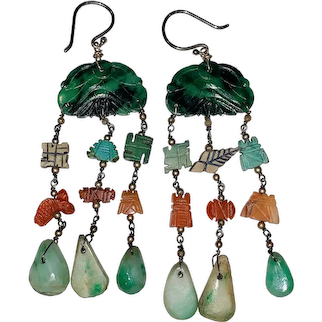A fabulous vintage pair of Chinese silver jadeite coral drop earrings.