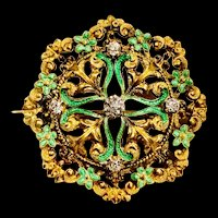 A lovely Antique 14 karat diamond and enamel pin and pendant.