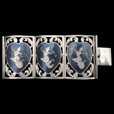 A vintage extra wide Sterling Siam enamel bracelet