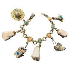 Delightful vintage gilt Chinese semi precious charm bracelet.